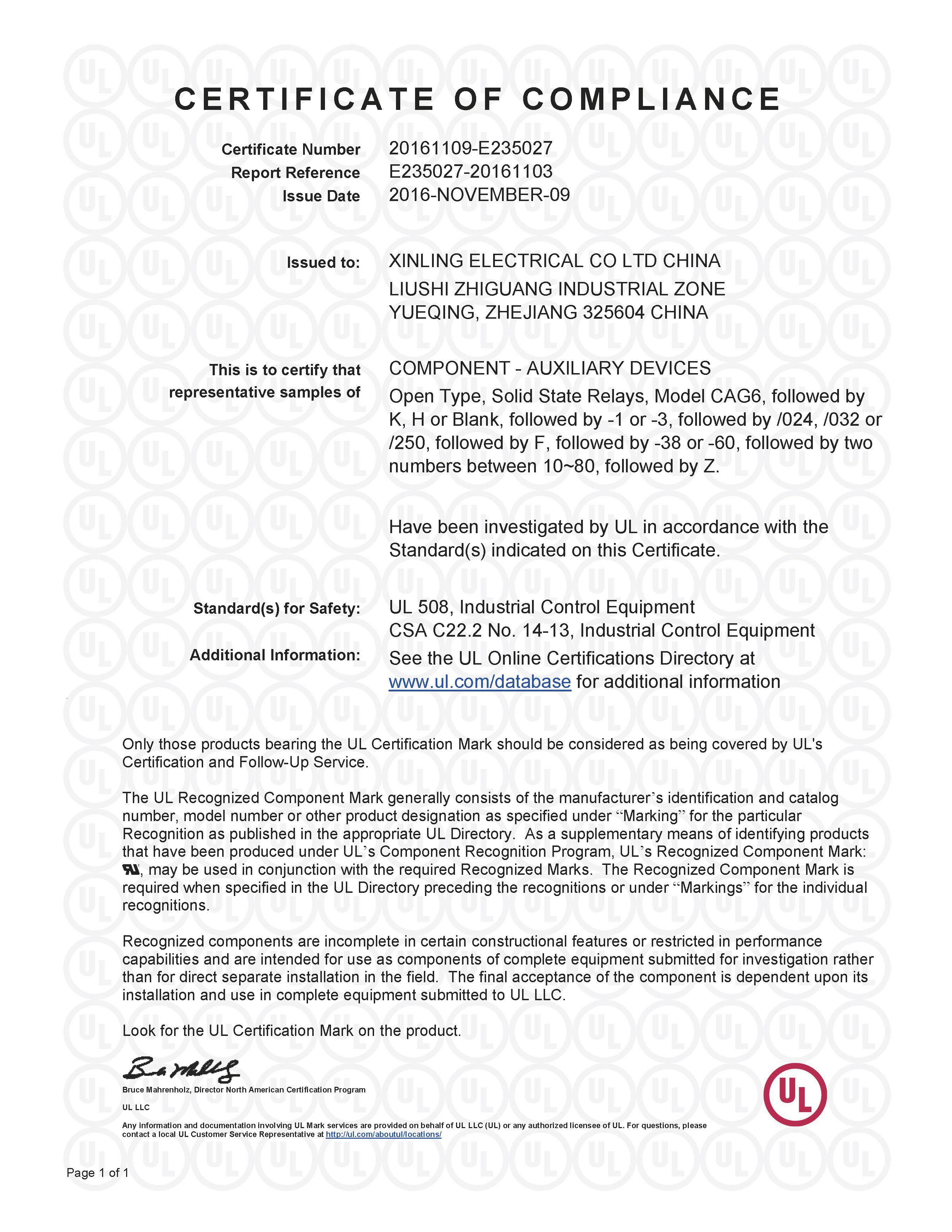 CAG6系列固体继电器UL证书【UL】